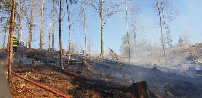 Požár lesního porostu Prostřední Bečva