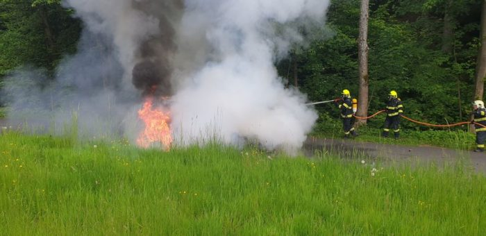 Požár auta na LPG